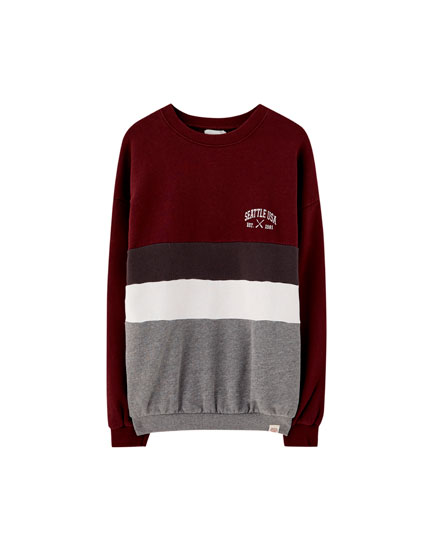 Sweat color block bordeaux