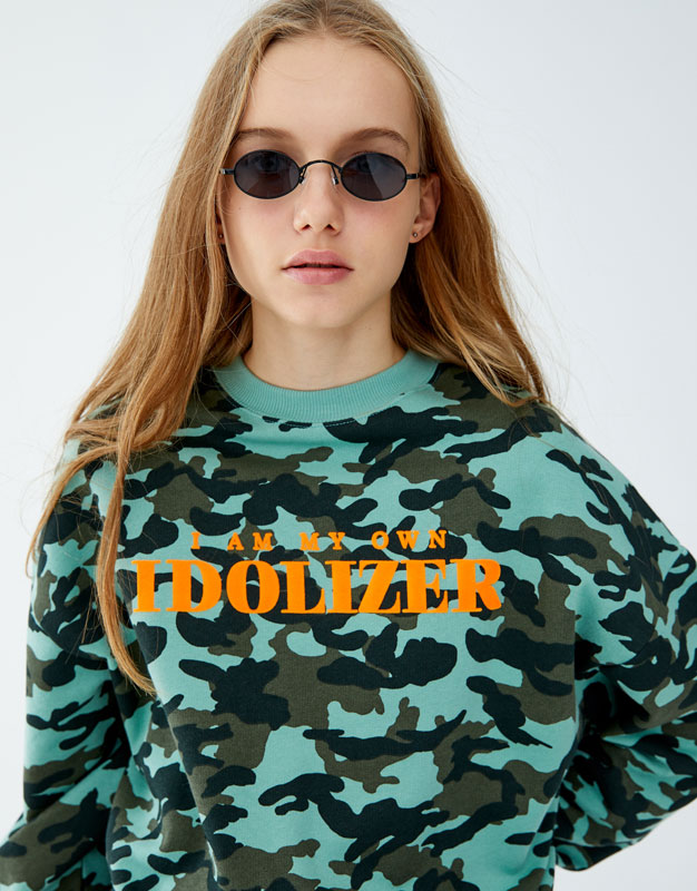 Camouflage Sweatshirt With Slogan by Pull & Bear