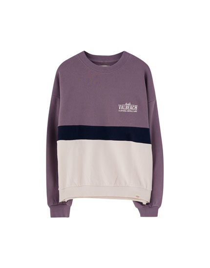 Embroidered colour block sweatshirt