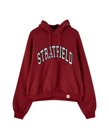 College-sweatshirt med hætte