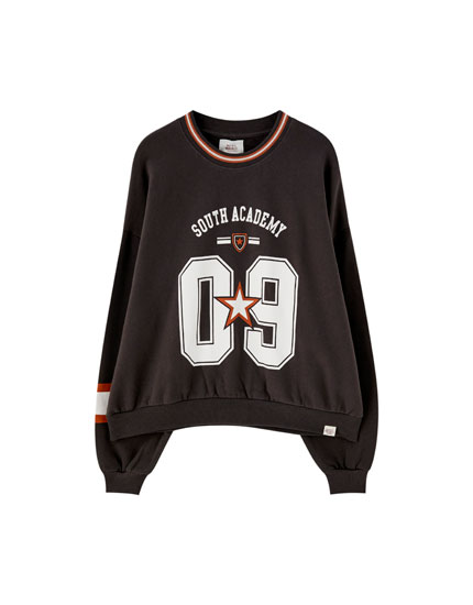 Number and star print varsity sweatshirt