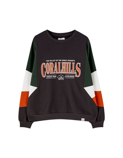 Slogan sweatshirt with panelled sleeves
