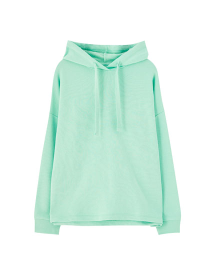 Sweatshirt med hætte med ribkant
