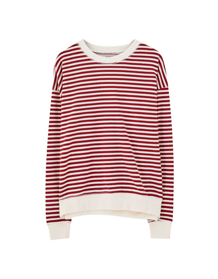 Striped sweatshirt with contrast ribbing