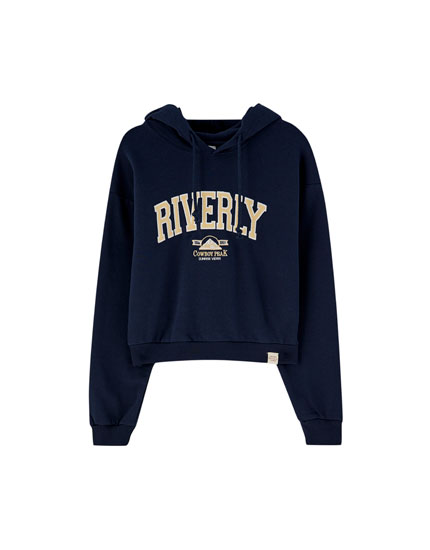 Sweat bleu broderie « Riverly »