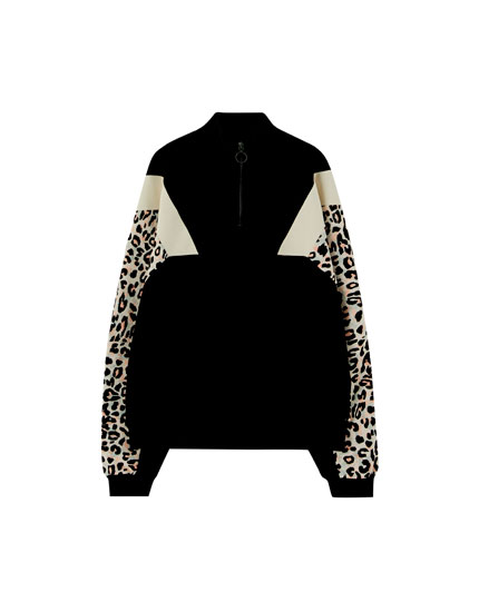 Leopard print colour block sweatshirt