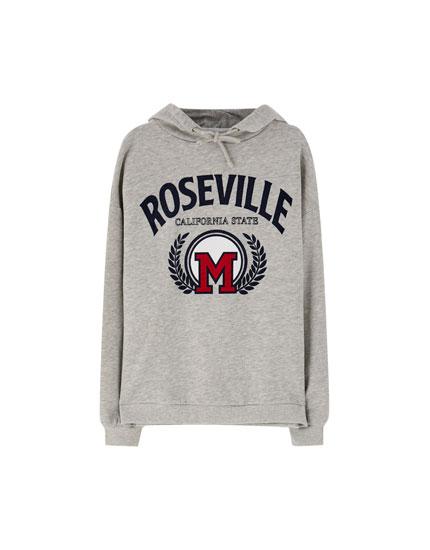 'Roseville' varsity hoodie. '