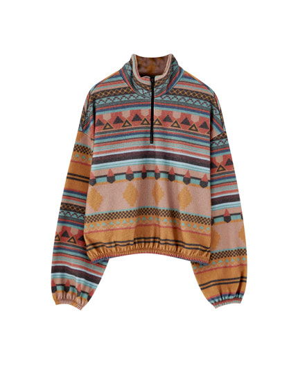Patterned fleece sweatshirt