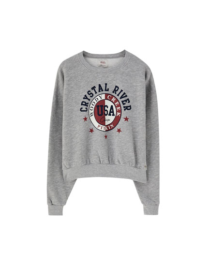 Varsity sweatshirt with university logo