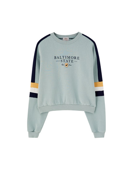 Sweatshirt met colorblock mouw