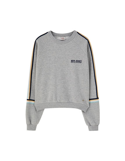 Grey sweatshirt with sleeve stripes