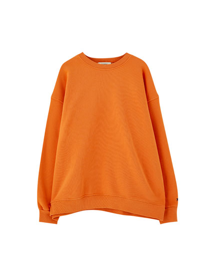 Basic sweatshirt with logo-printed sleeve cuff