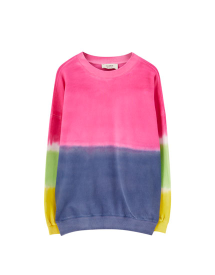 Colourful tie-dye sweatshirt with neon