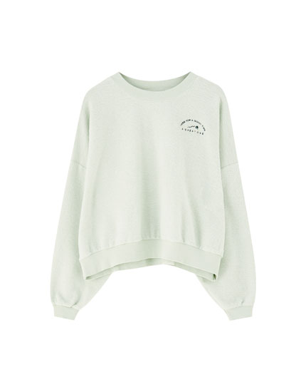 Napped cotton sweatshirt with embroidery