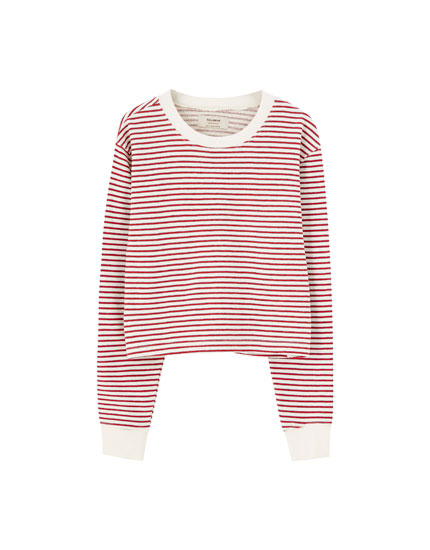 Basic cropped striped sweatshirt