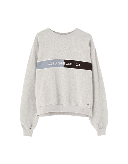Sweatshirt with embroidered chest colour block