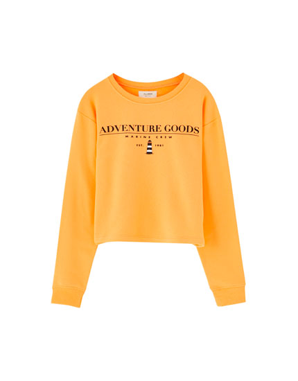 Basic round neck slogan sweatshirt