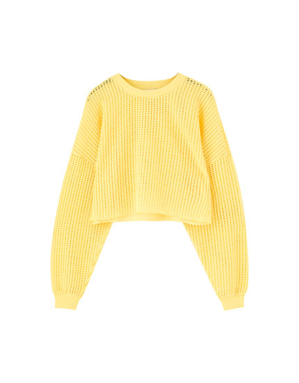Yellow open knit sweatshirt
