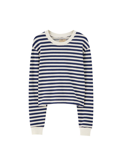 Cropped striped sweatshirt