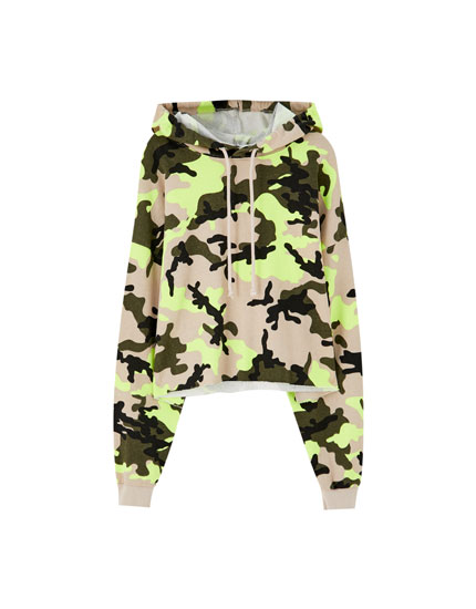 Neon camouflage hoodie