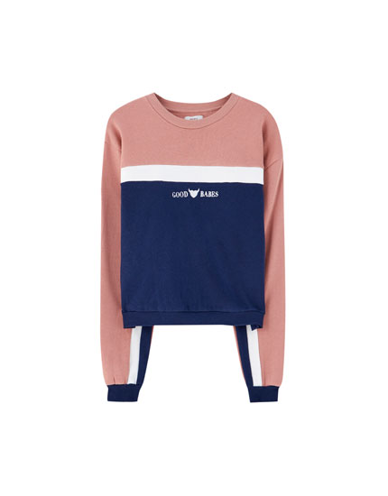"Sweatshirt mit Colour-Block ""Good Babes"""