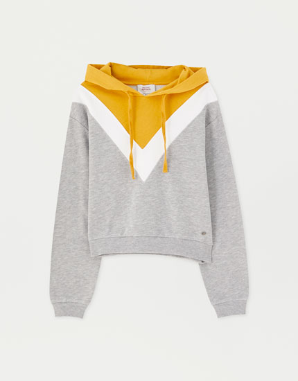 Cropped chevron colour block hoodie