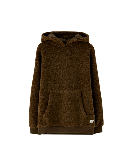 Faux shearling pouch pocket hoodie