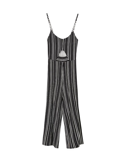 Jumpsuit with straps and front cut-out detail