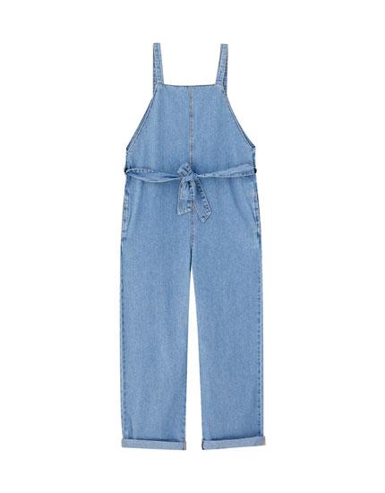 Wide-leg denim jumpsuit with straps