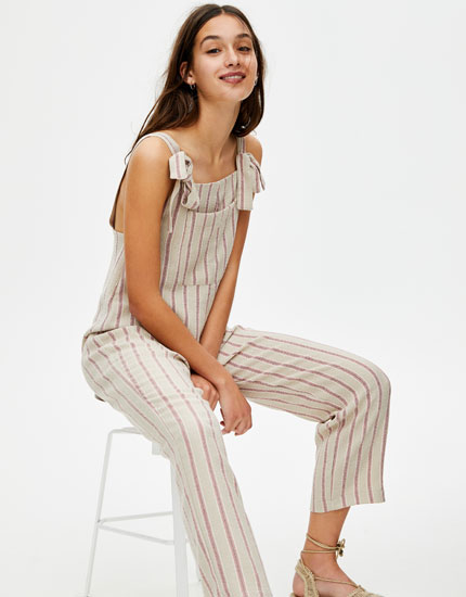 Long vertical-stripe dungarees