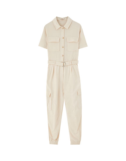 Long worker jumpsuit with belt