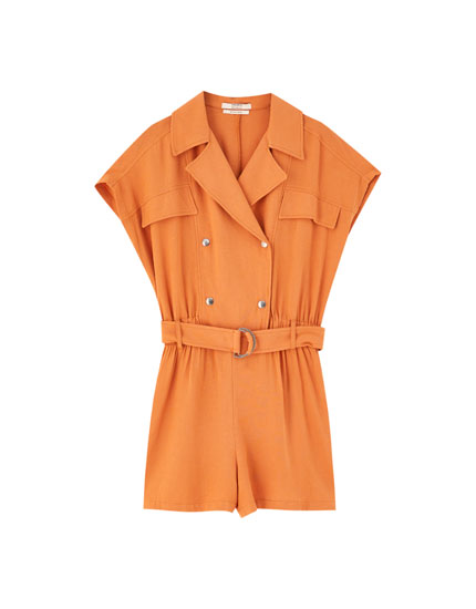 Double-breasted lapel collar playsuit