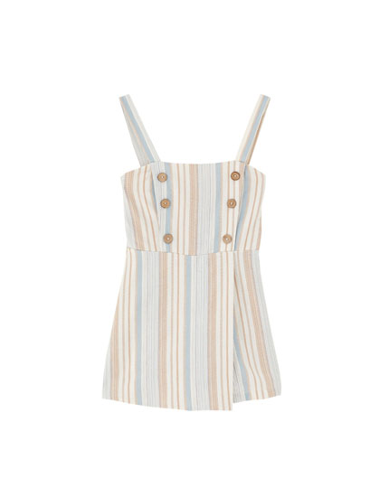 Playsuit with contrast buttons