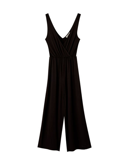 Wrap-style jumpsuit with straps