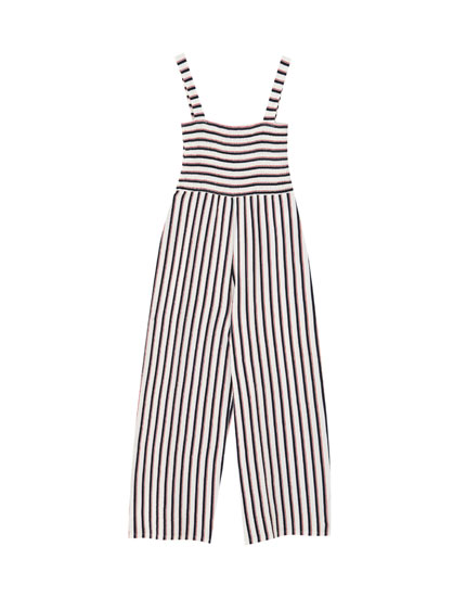 Striped jumpsuit with shirring