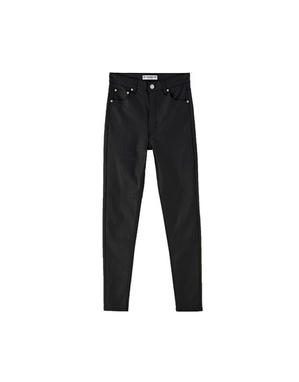 Coated skinny trousers