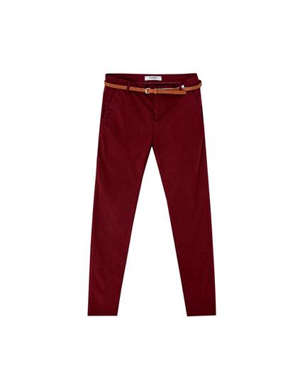 Pantalon chino basic ceinture