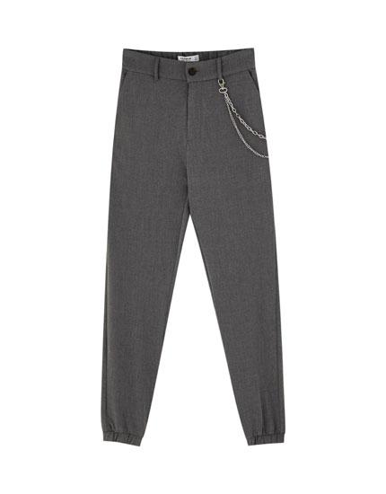 Elastik manşetli özel kesim pantolon