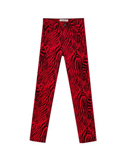 Zebra skinny jeans