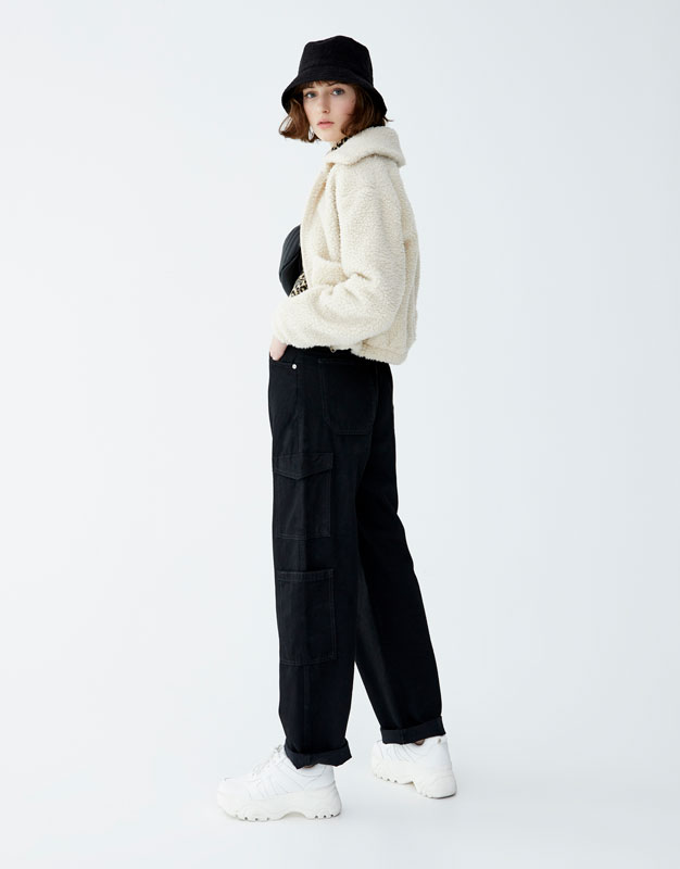 High Waist Cargo Trousers by Pull & Bear