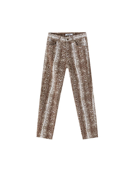 Snake print mom fit trousers