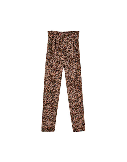 Leopard print paperbag trousers