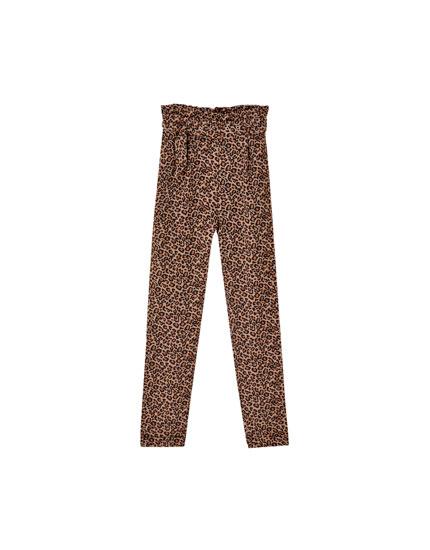 Pantaloni paperbag leopard