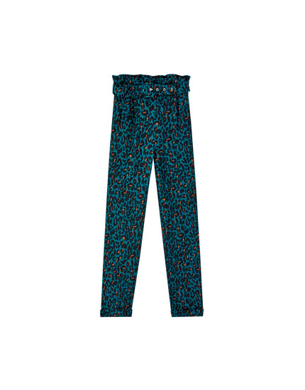 Green leopard print paperbag trousers