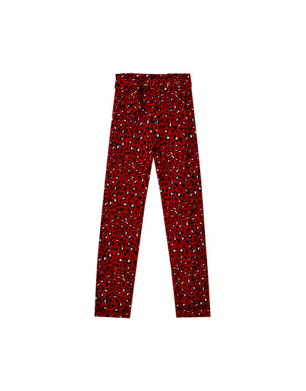Red leopard print paperbag trousers