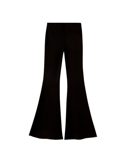 Flared trousers with ruffles