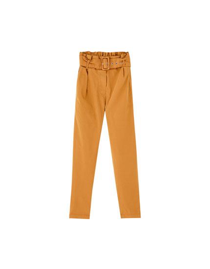 Dökümlü paperbag pantolon