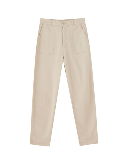 Cargo trousers with waist cord