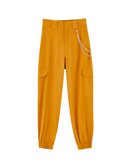 Cargo chino trousers with elastic hems
