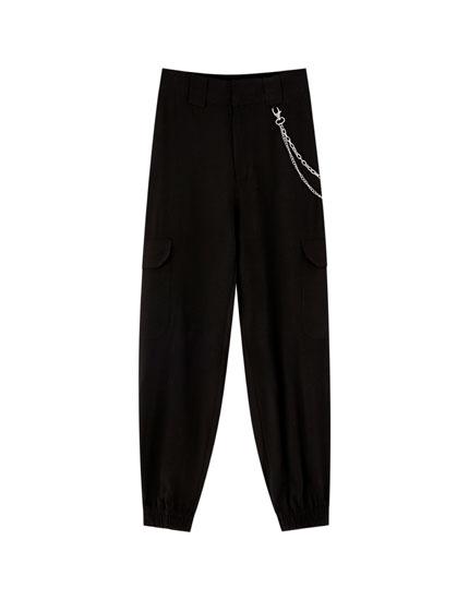 Pantalon chino cargo chevilles élastiques